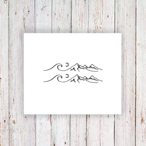 Set of two sea, mountain and moon temporary tattoos