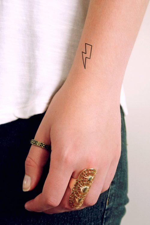 Small lightning bolt temporary tattoo (set of two)