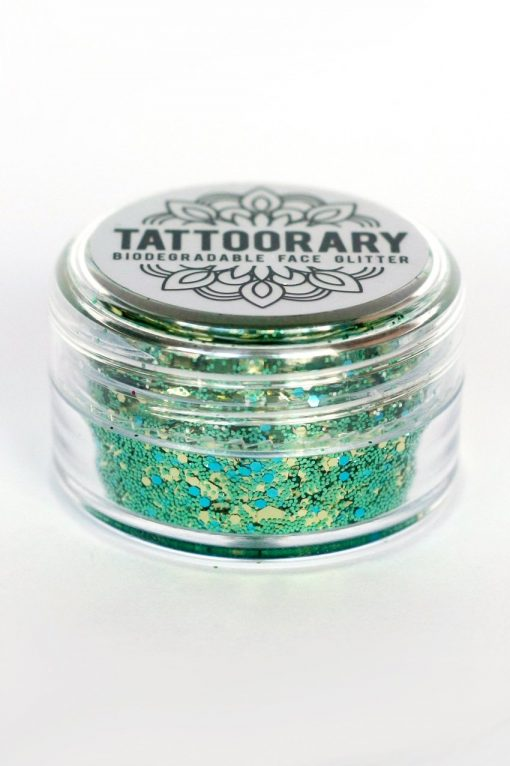 Biodegradable chunky face glitter in 'Golden Forest'