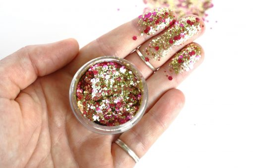 Biodegradable chunky face glitter in 'Rose Gold'