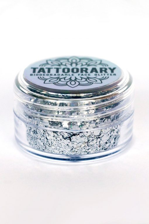 Biodegradable chunky face glitter in 'Silver Moon'