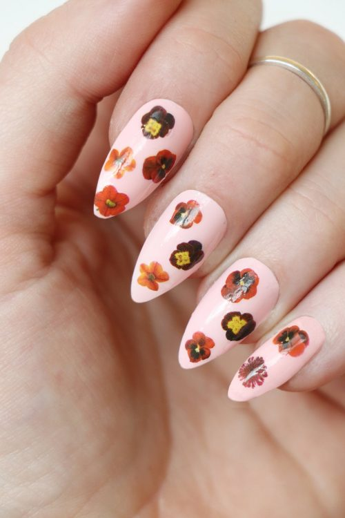 Red flower nail decals nail stickers