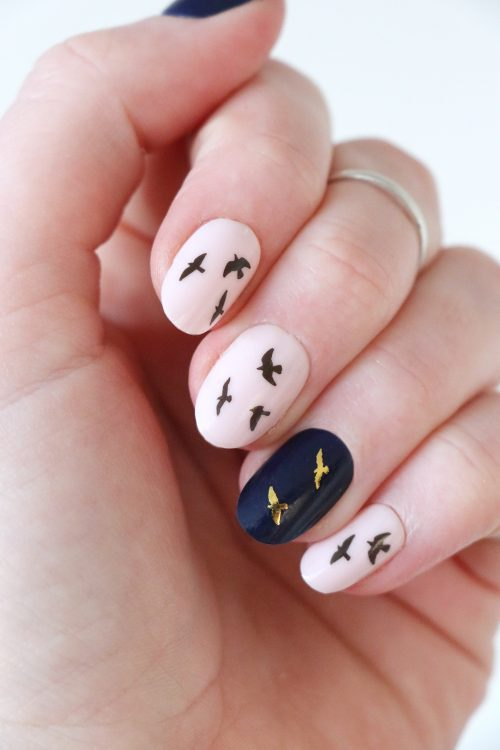 Gold and black flying bird nail tattoos / nail decals