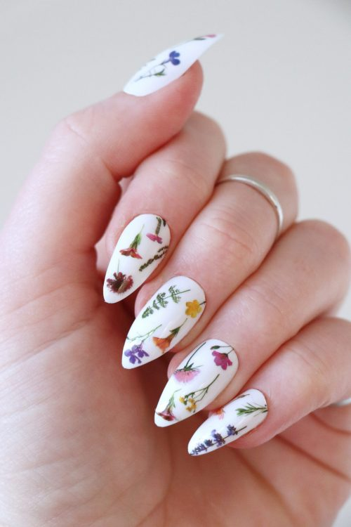 Colorful flowers on stem nail tattoos / nail decals