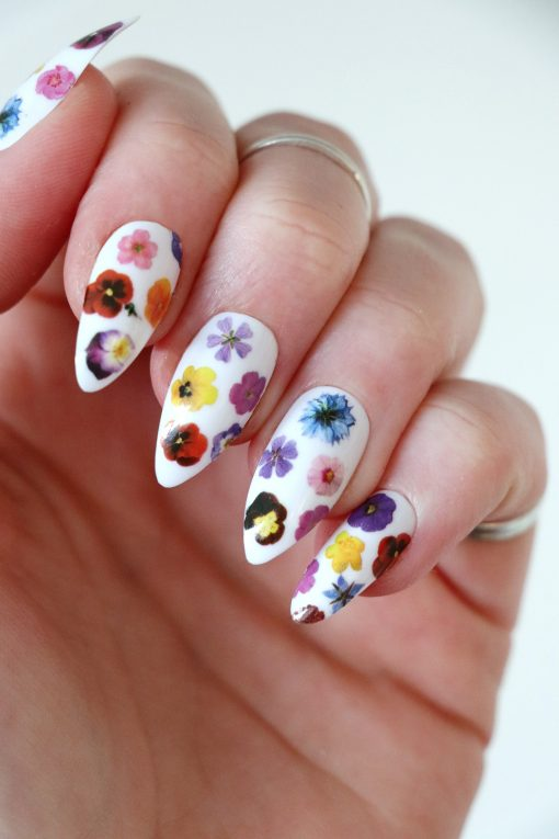 Colorful flowers nail tattoos / nail decals