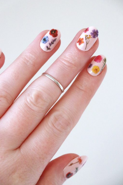 Colorful mixed flowers nail tattoos / nail decals
