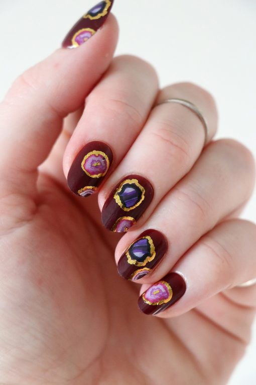 Pink and purple agate slice nail tattoos / nail decals