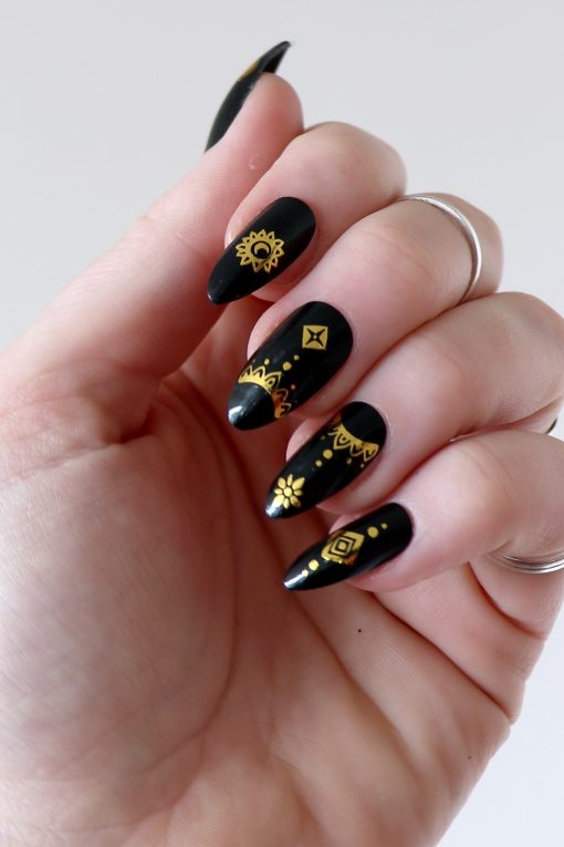 Gold bohemian nail tattoos / nail decals