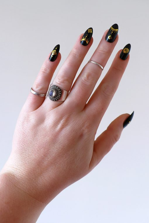 Gold bohemian nail tattoos / nail decals