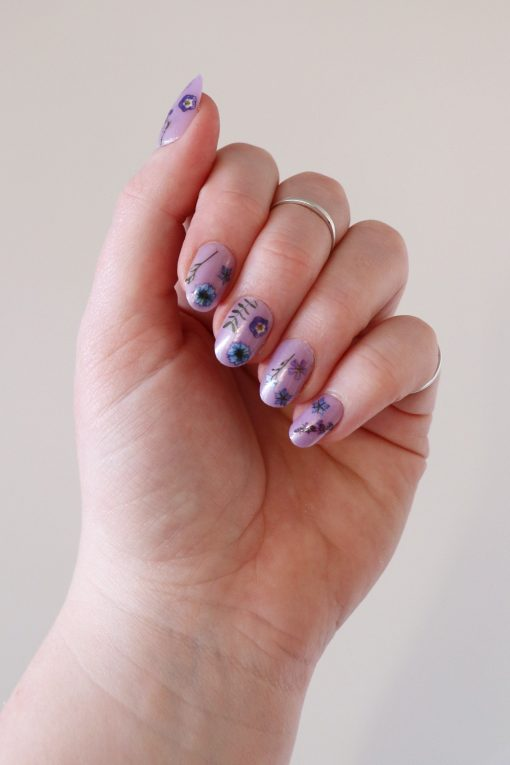 Blue and purple flowers nail tattoos / nail decals