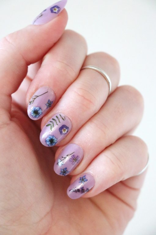purple floral nail decals