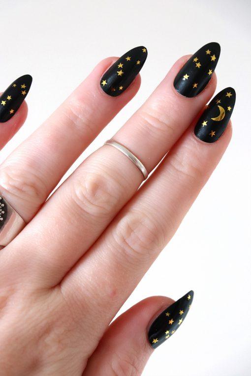 moon and stars nail tattoos / nail decals