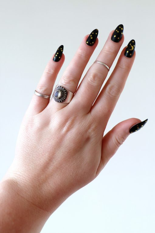 moon and stars nail tattoos / nail decals