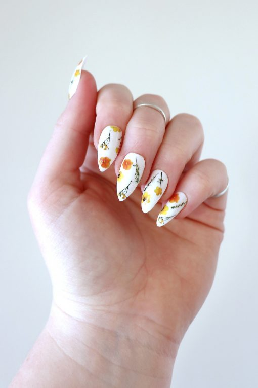 Yellow and green flowers nail tattoos / nail decals