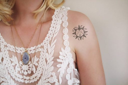Black and white bohemian temporary tattoo set