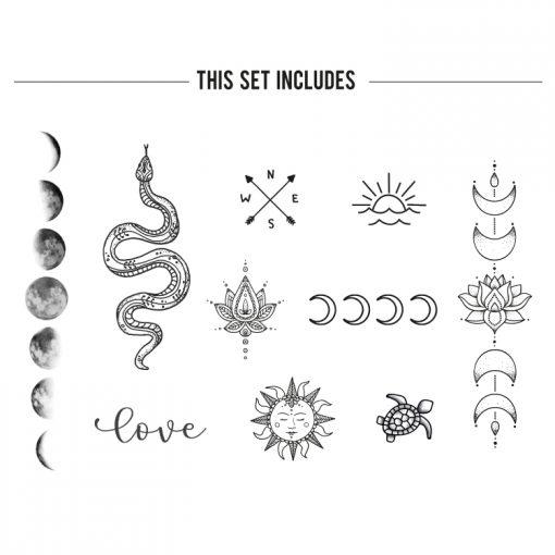 Black and white bohemian temporary tattoo set