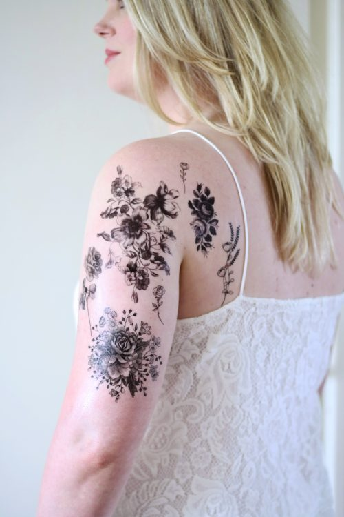 Black and white floral flower temporary tattoo set