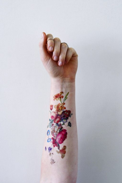 colorful floral temporary tattoo set