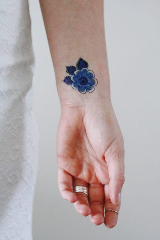 delft blue floral temporary tattoo set