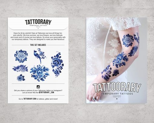 delft blue floral temporary tattoo set