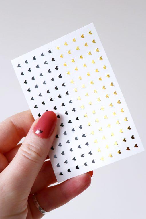 Tiny gold and black hearts nail tattoos nail decals nail stickers