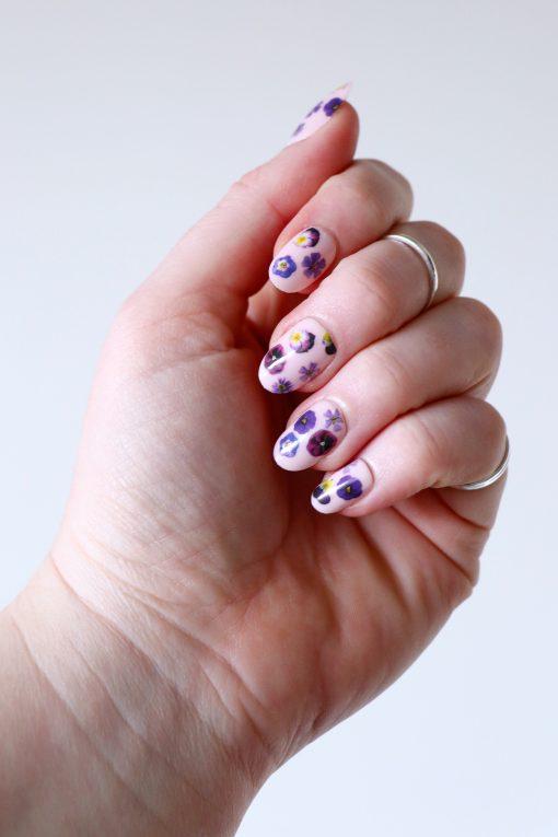 purple flowers nail tattoos nail decals