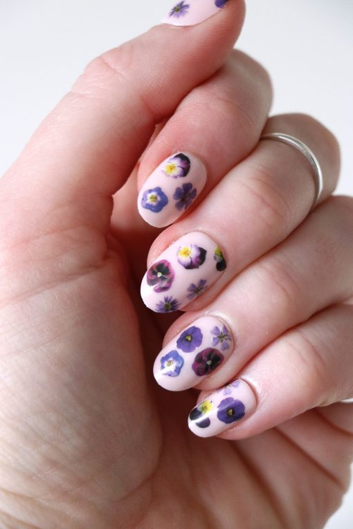 purple flowers nail tattoos nail decals