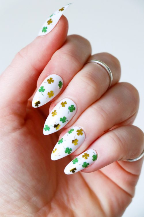 saint patricks day four-leaf clover gold and green nail decals