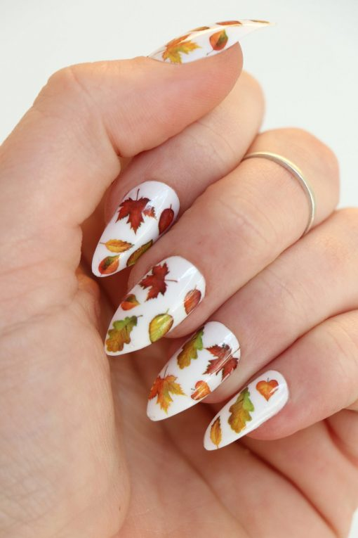 Autumn Fall leaves nail decals