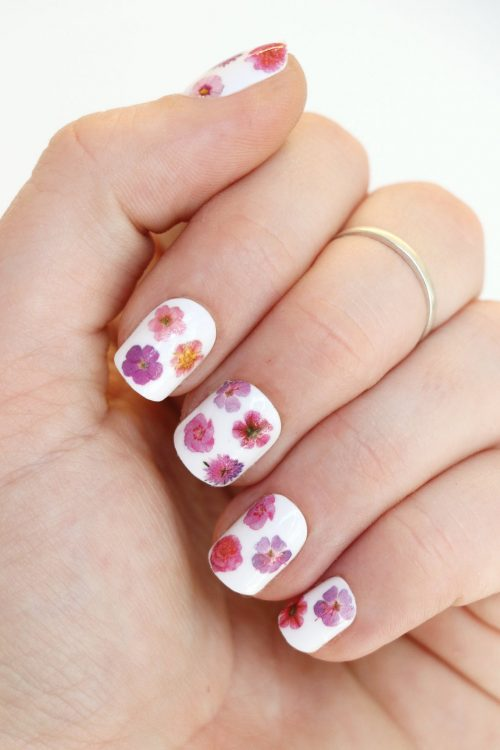 Pink flower nail decals nail stickers