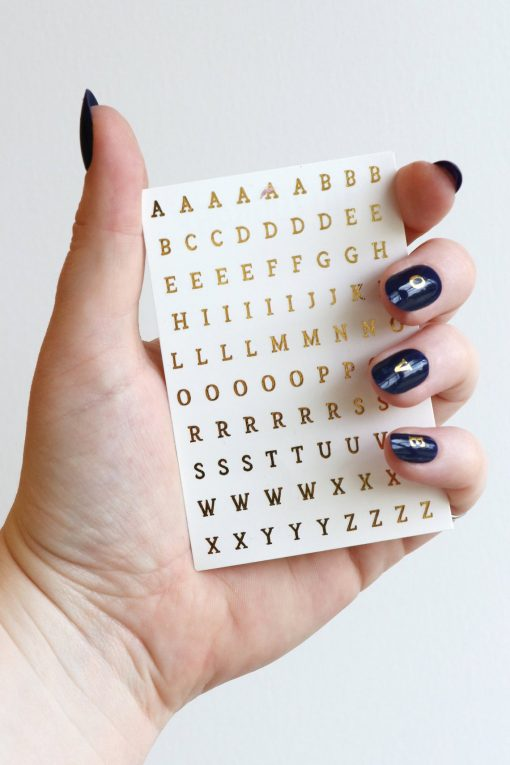 gold alphabet letter nail decals nail stickers