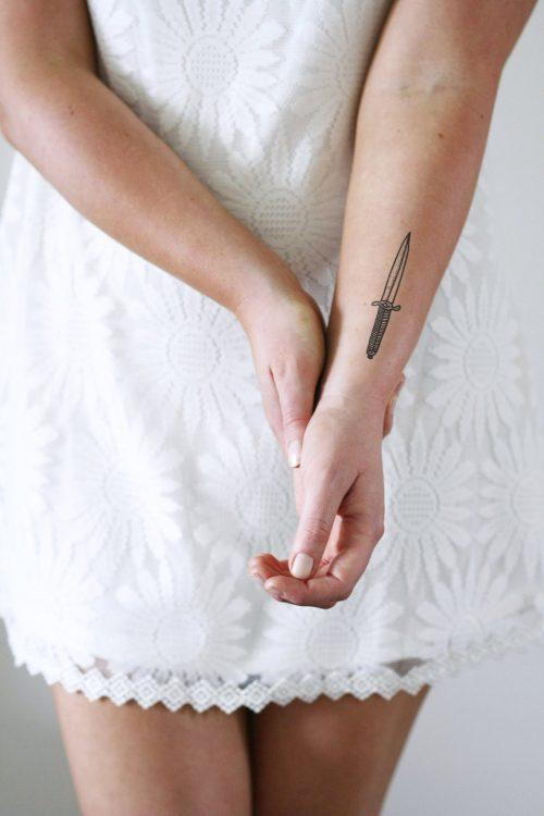 Knife temporary tattoo