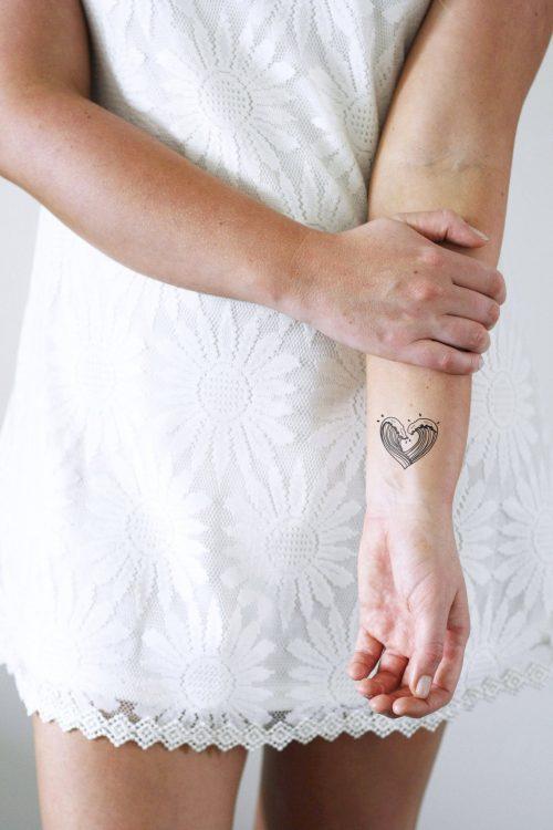 Heart waves temporary tattoo