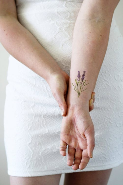 Lavender temporary tattoo