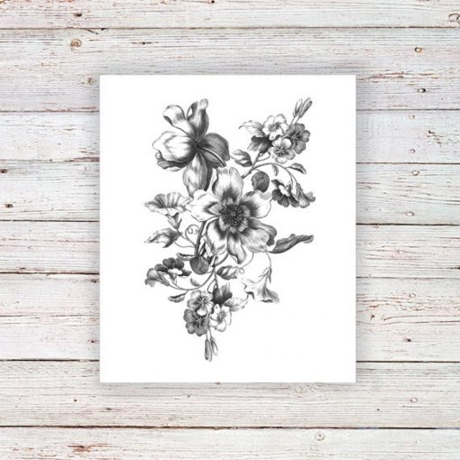 large black and white floral temporary tattoo