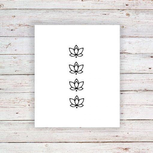 small lotus temporary tattoo set of four