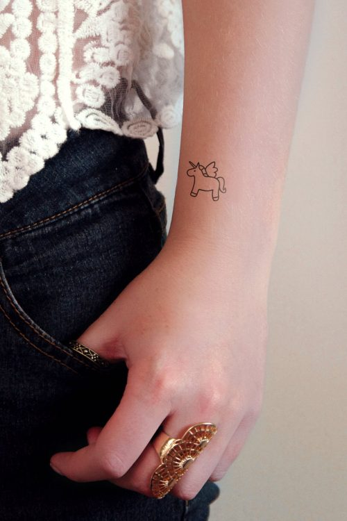 Unicorn temporary tattoo set of two