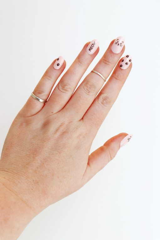 cat meow nail decals / cat lady nail stickers