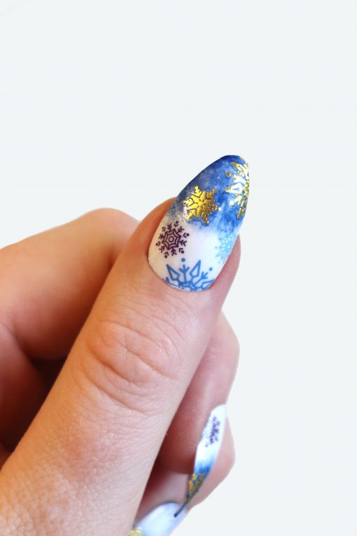 Blue and Gold Snowflake Nail decals
