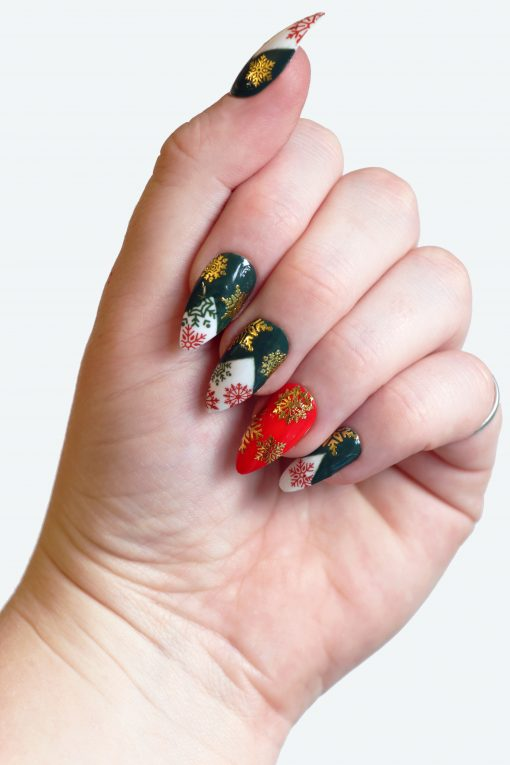 Red, Green and Gold Christmas Snowflake Nail Decals