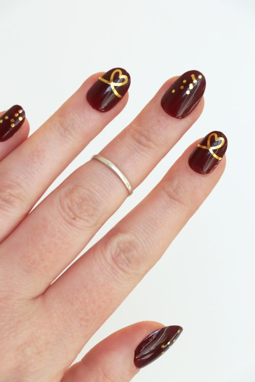 gold heart ribbon and dots nail decals / nail stickers