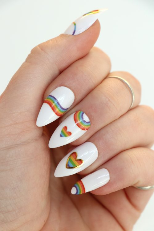 Pastel rainbow nail decals / nail stickers / pride nail decals