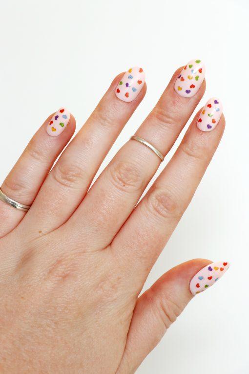 rainbow hearts nail decals / nail stickers