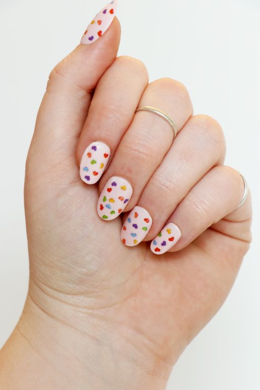 rainbow hearts nail decals / nail stickers