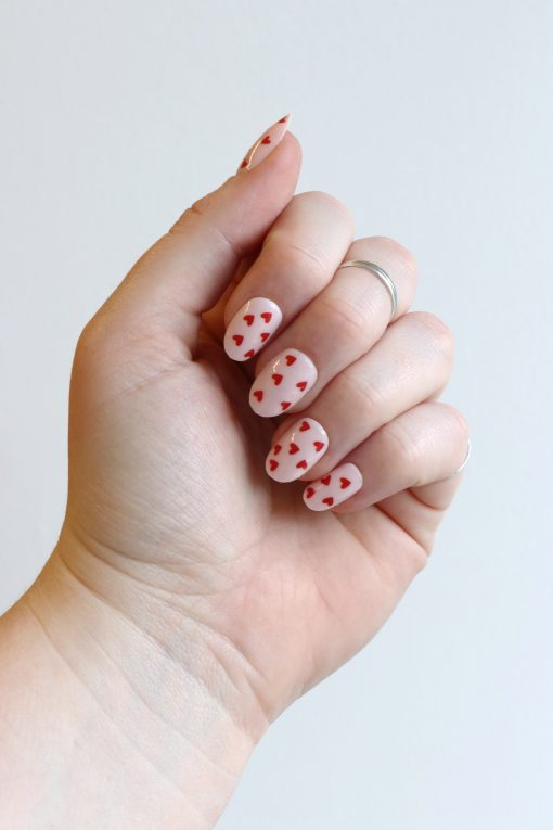Tiny Red Heart nail decals / red heart nail stickers