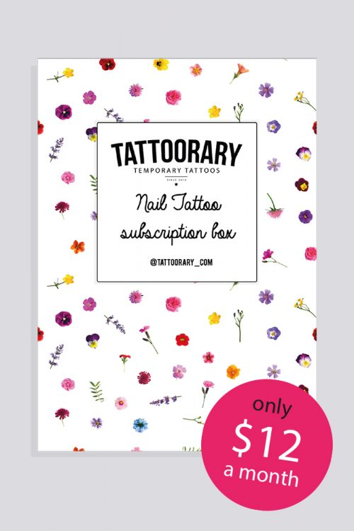 month nail decal subscription box - monthly nail tattoo subscription box -