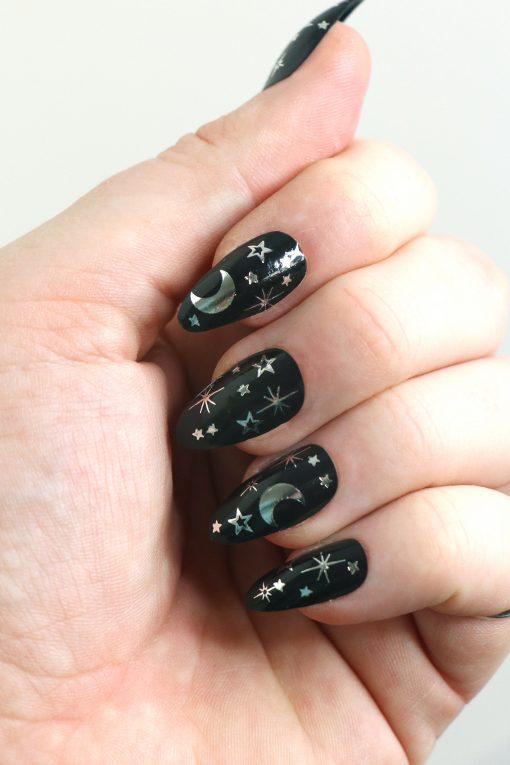 Silver moon and stars nail tattoos / silver nail decals / nail art / bohemian nails / silver star decals / festival nail decals / self care