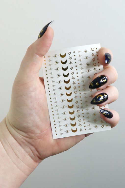 moon and stars nail tattoos / gold nail decals / nail art / bohemian nails / gold star decals / festival nail decals / self care / gold