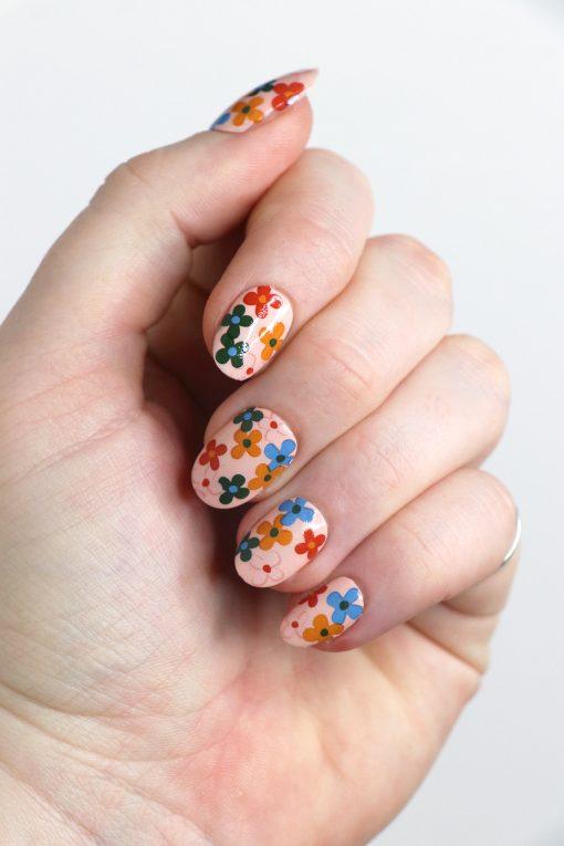 Colorful retro flowers nail tattoos / flower nail decals / nail art / floral nails / floral nail decals / flower nail art / flower nails