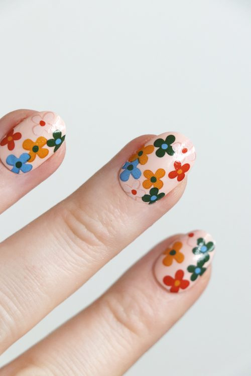 Colorful retro flowers nail tattoos / flower nail decals / nail art / floral nails / floral nail decals / flower nail art / flower nails